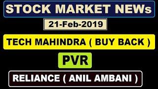 ( Tech Mahindra ) (PVR) ( Reliance Anil ambani ) today's news of Stock market in Hindi by SMkC