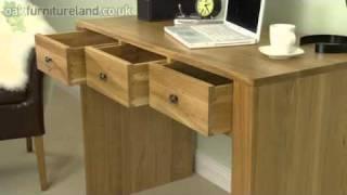 Nero Solid Oak Computer Desk / Dressing Table From Oak Furniture Land