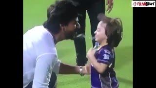 Shahrukh Khan's son Abram spits water on him, watch video | filmibeat