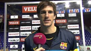 Barcelona's viran morros gives his reaction to the 26:24 win against bjerringbro-silkeborg in velux ehf champions league last 16