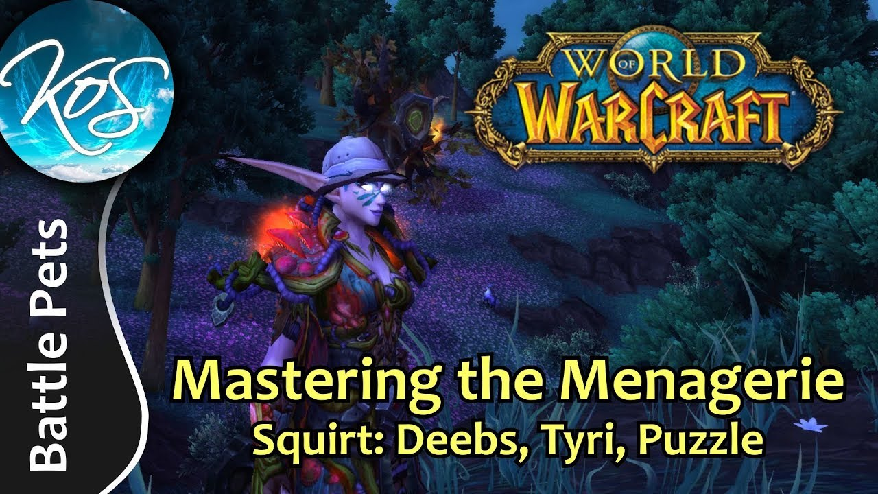 World Of Warcraft Mastering The Menagerie Squirt Deebs Tyri Puzzle Wow Battle Pet Strategy Youtube