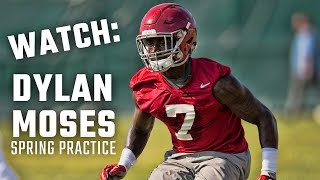 Repeat youtube video Alabama freshman linebacker Dylan Moses at second day of spring practice