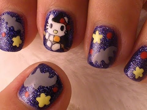 halloween nails - kitty witch