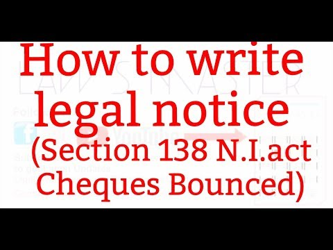 How to write a legal notice (section 138 N.I.act)