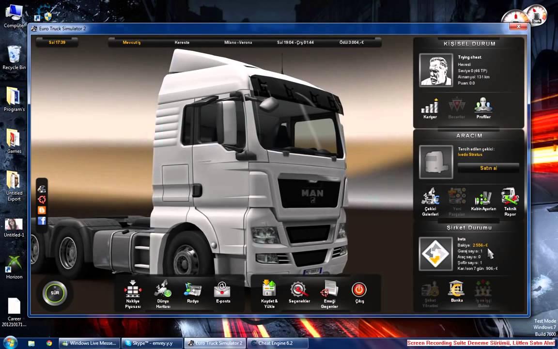 euro truck simulator 2 para hilesi cheat engine 6.2 indir