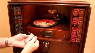 1928 Victor Victrola Electrola VE7-26X Serial 4336 Playing AM, mp3 and Vogue picture disc