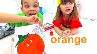 Alice and brother Learns colors and names of fruits. Educational video for kids