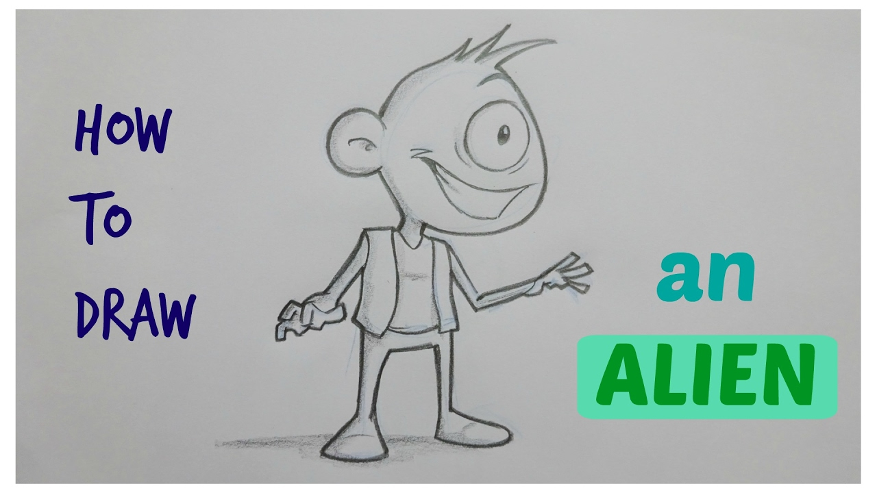 How to draw cartoon alien time lapse character design
