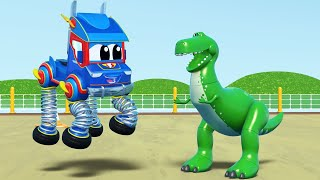 Truck cartoons for kids -  TOY STORY DINOSAUR T-REX Picnic Surprise' - Super Truck in Car City !