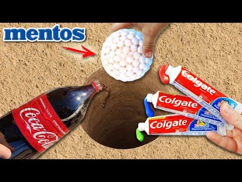 Experiment Coca Cola & Colgate Vs Mentos Underground! SUPER Reaction!