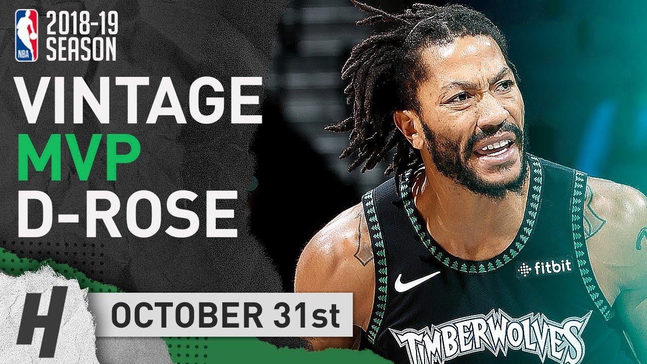 hot sale online f7ffb f46dd VINTAGE MVP Derrick Rose EPIC Highlights Wolves vs Jazz 2018.10.31 - 50  Points, CRAZY Career-HIGH!