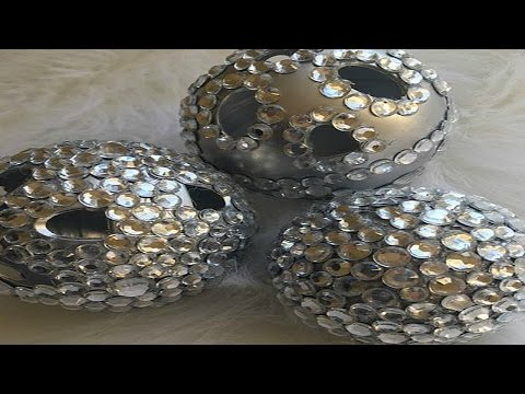 DOLLAR TREE DIY BLING BALL WEDDING CENTERPIECE AND CANDLE HOLDERS
