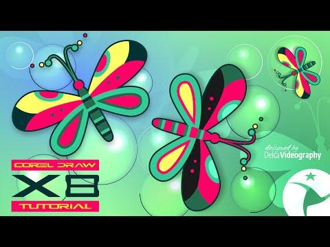 (BÁSICO) COREL DRAW X5, X6, X7 Y X8 TUTORIAL DISEÑO DE MARIPOSA / DESIGN A BUTERFLY