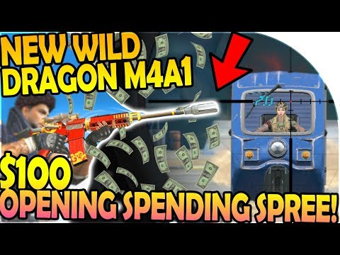 NEW WILD DRAGON M4A1 GAMEPLAY - $100 SPENDING SPREE (Rules of Survival Battle Royale Gameplay)