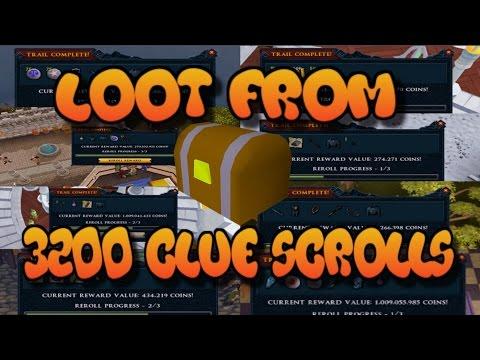 Loot from 3200 Clue scrolls - [Runescape 2017]