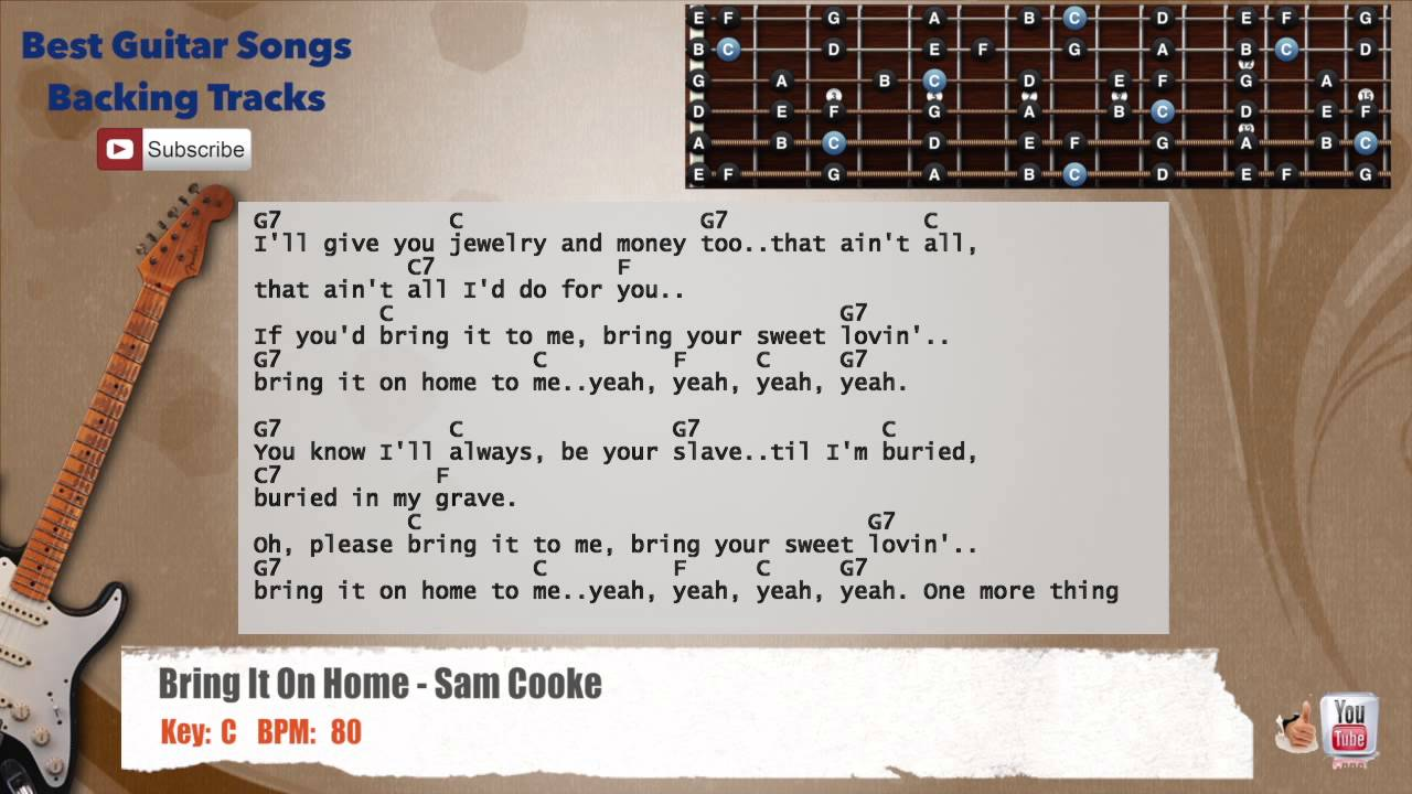 Bring It On Home To Me Sam Cooke Guitar Backing Track With Scale