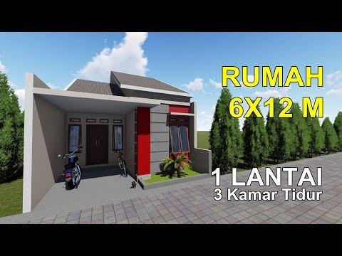 Desain Rumah Dilahan 6x12 M 1 Lantai Dengan 3 Kamar Tidur Youtube