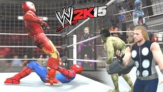 WWE 2K15 - Hulk vs Thor vs Captain America vs Iron Man vs Spider-Man vs Hawkeye - AVENGERS FIGHT