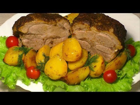 Свинина в духовке, запечённая в рукаве, с картошкой и апельсинами. English Subtitles