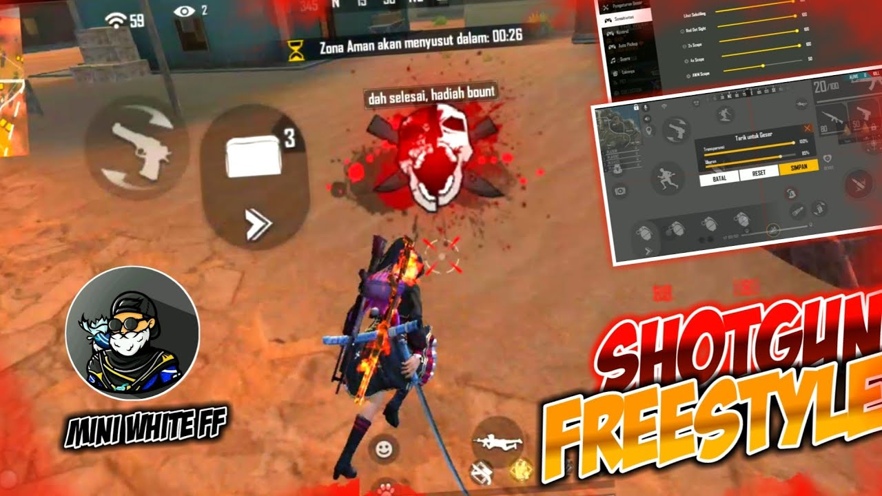 ONE SHOT SHOTGUN 🎯 Sensitivitas Shotgun M1887 Mudah Headshot -Tutorial One Shot One Kill Venom FF