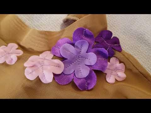 Купальник для художественной гимнастики. Розовый с цветами.Часть 7.Цветы на шее. RG Leotard. DIY