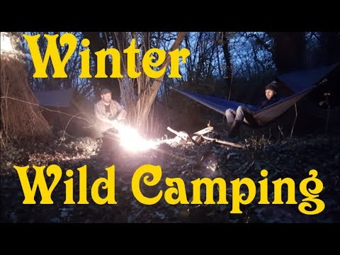 Wild Camping in Winter, Hammock and Tarp camping, meat on a stick