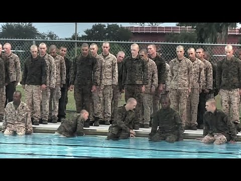 US Marines Recruits Attempt Swim Qualification