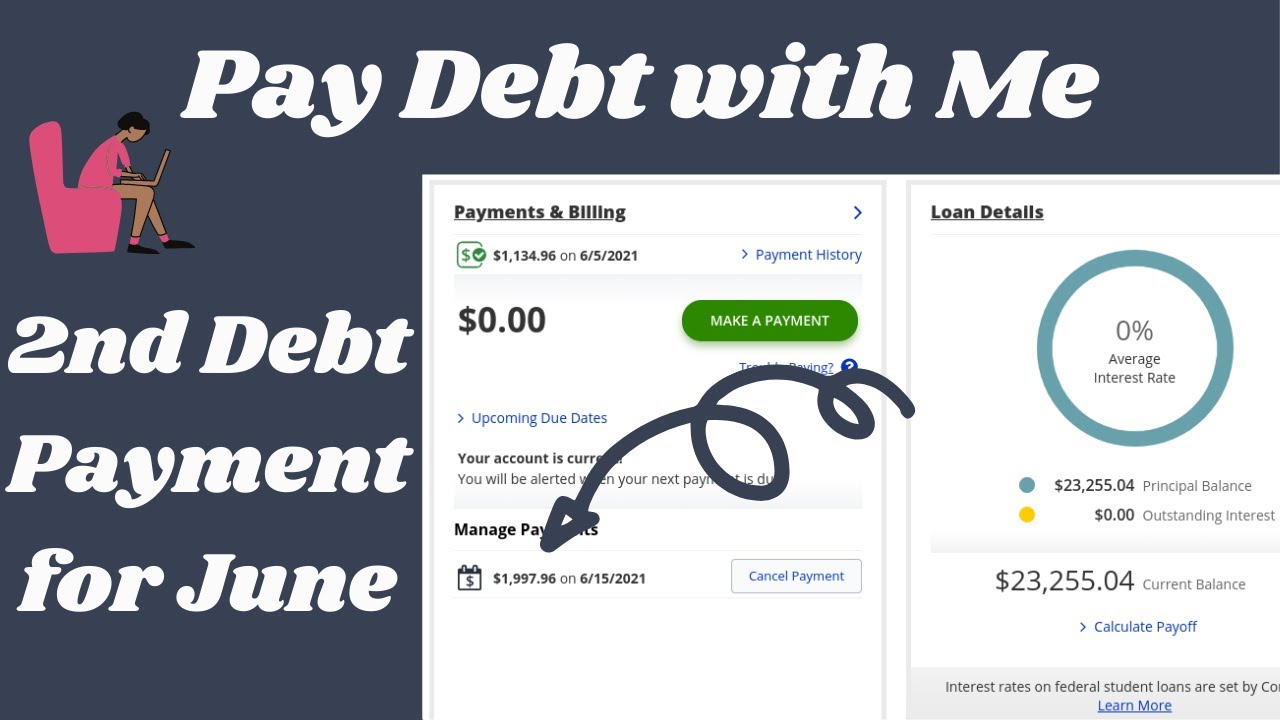 Pay Debt with Me| June 2021-Paying off another Student Loan| Debt: $23,255.04