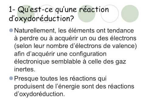 Réactions d'oxydoréduction partie 1