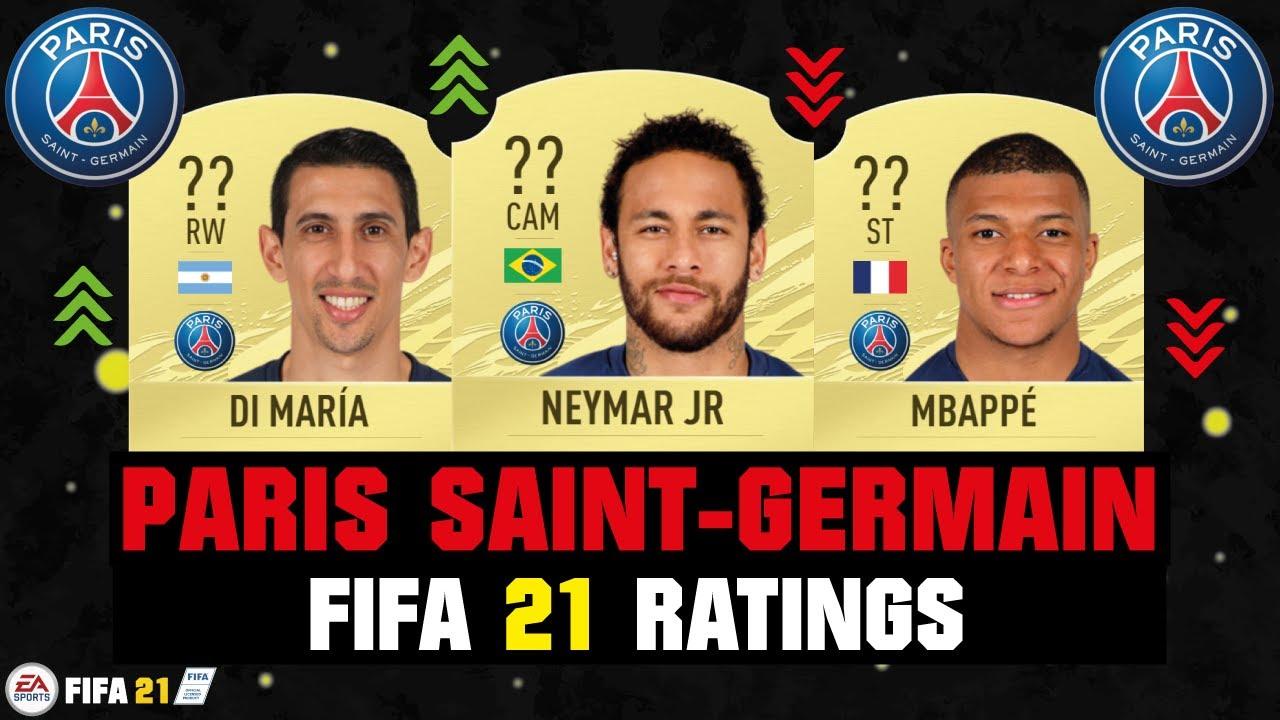 fifa 21 psg player ratings ft neymar mbappe di maria etc