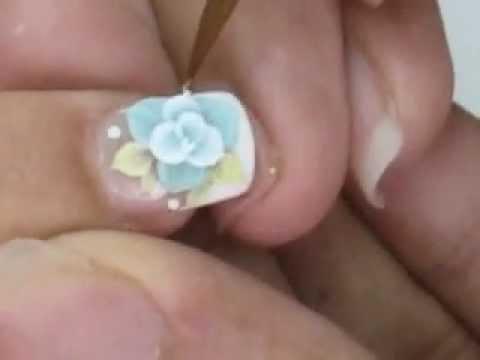 ลายปั้นนูนดอกไม้สีฟ้าเขียว 3D Ocean Blue flower nails design