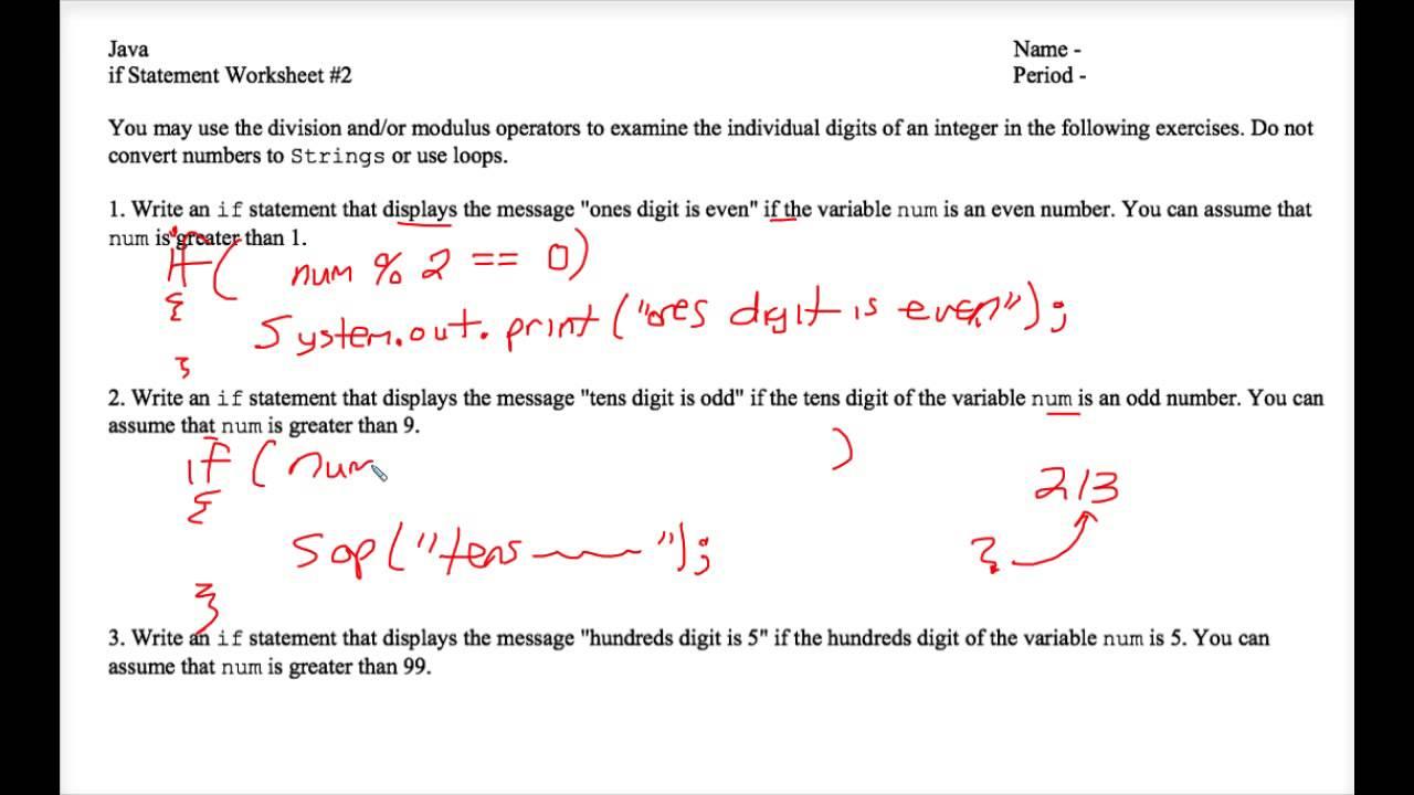 Java - If Statement Worksheet #2