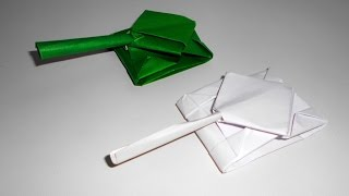 How to make a tank from a paper in origami technique. Оригами танк