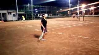 旭化成ソフトテニス部バックハンドストローク2014.10.02