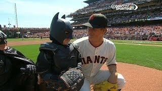 Repeat youtube video BatKid throws first pitch at Giants opener