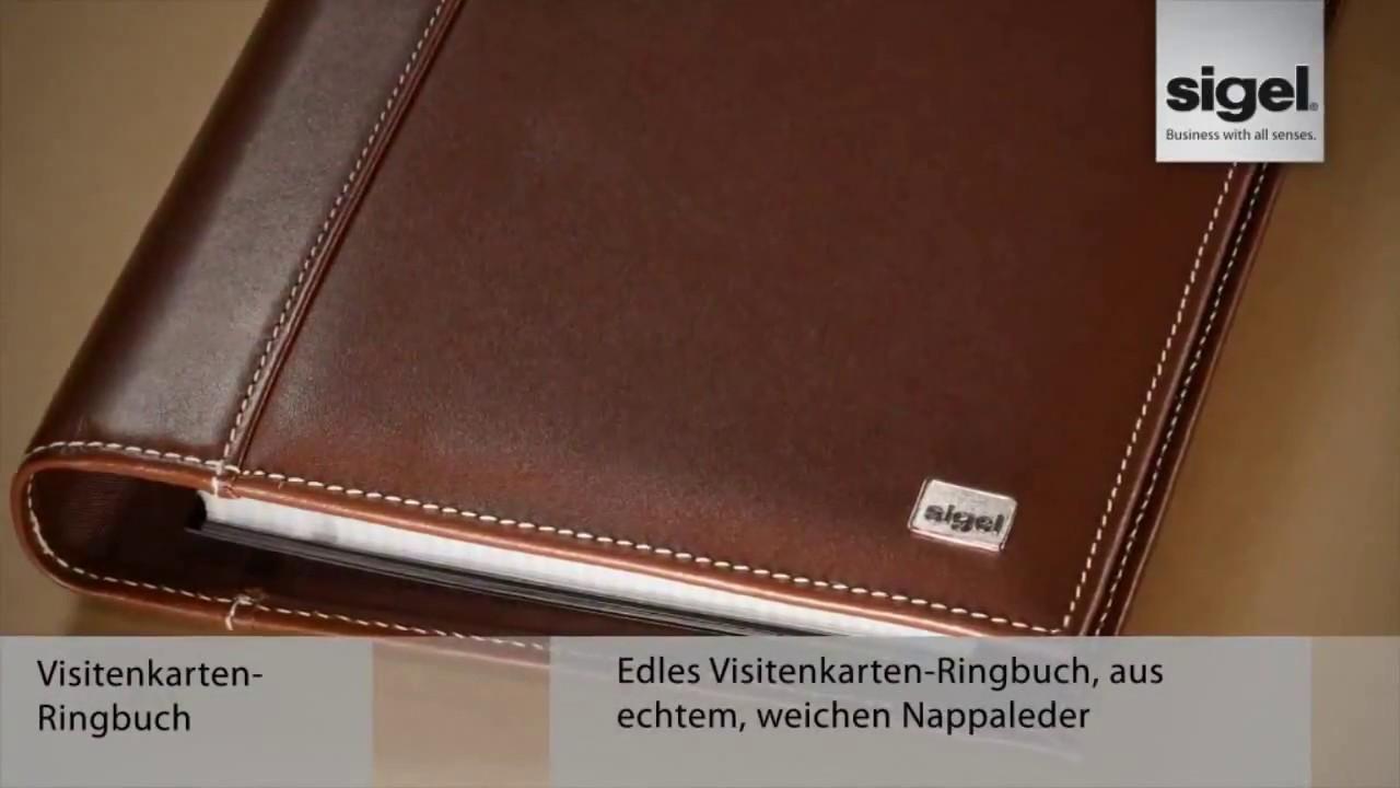 Sigel Vz204 Torino Visitenkartenbuch A5 Leder 4 Ring Schwarz Nappaleder 160 Karten