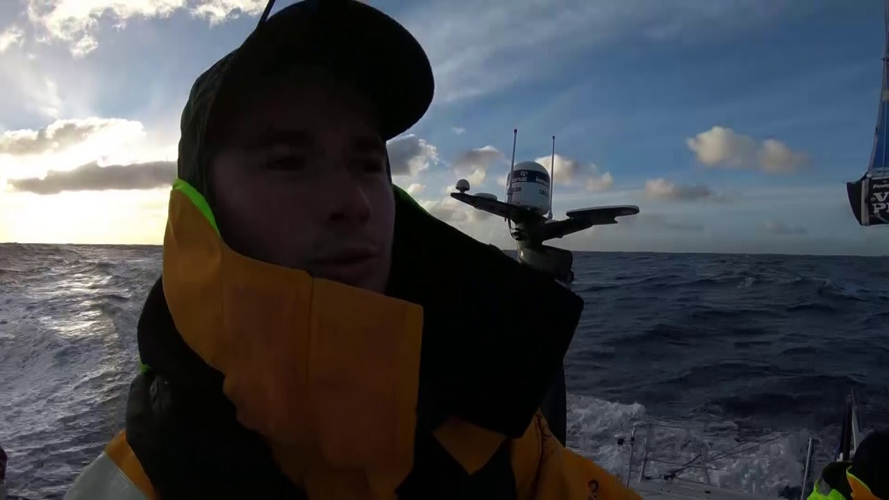 "Sam asks Lucas, on the helm in fairly mellow conditions at sunset, ""How does your Southern Ocean song go?"" Lucas sings: ""I am an albatross, and I fly across the seaaaa!"""