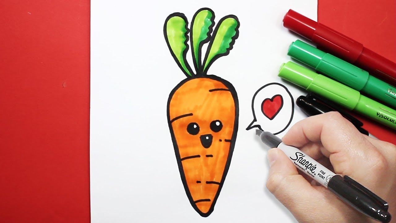 رسم جزرة كيوت بالرصاص والخطوات رسم كيوتات تعليم رسم سهل Youtube