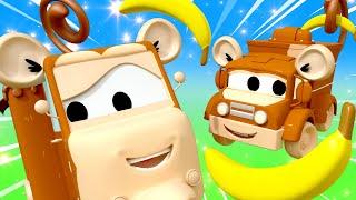Five little monkeys Nursery Rhymes Songs for Children with Trucks of Car City