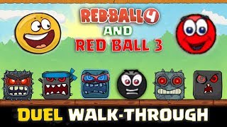 "RED BALL 4 & RED BALL 3 - ""DUEL WALK-THROUGH"" with GOLDEN & RED BALL Complete Gameplay (All Levels)"