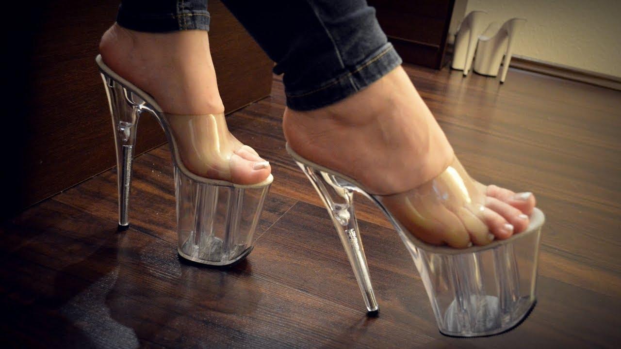 8 inch clear high heels - YouTube
