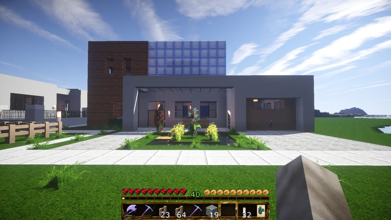 survival mode building 03 modern house garage youtube