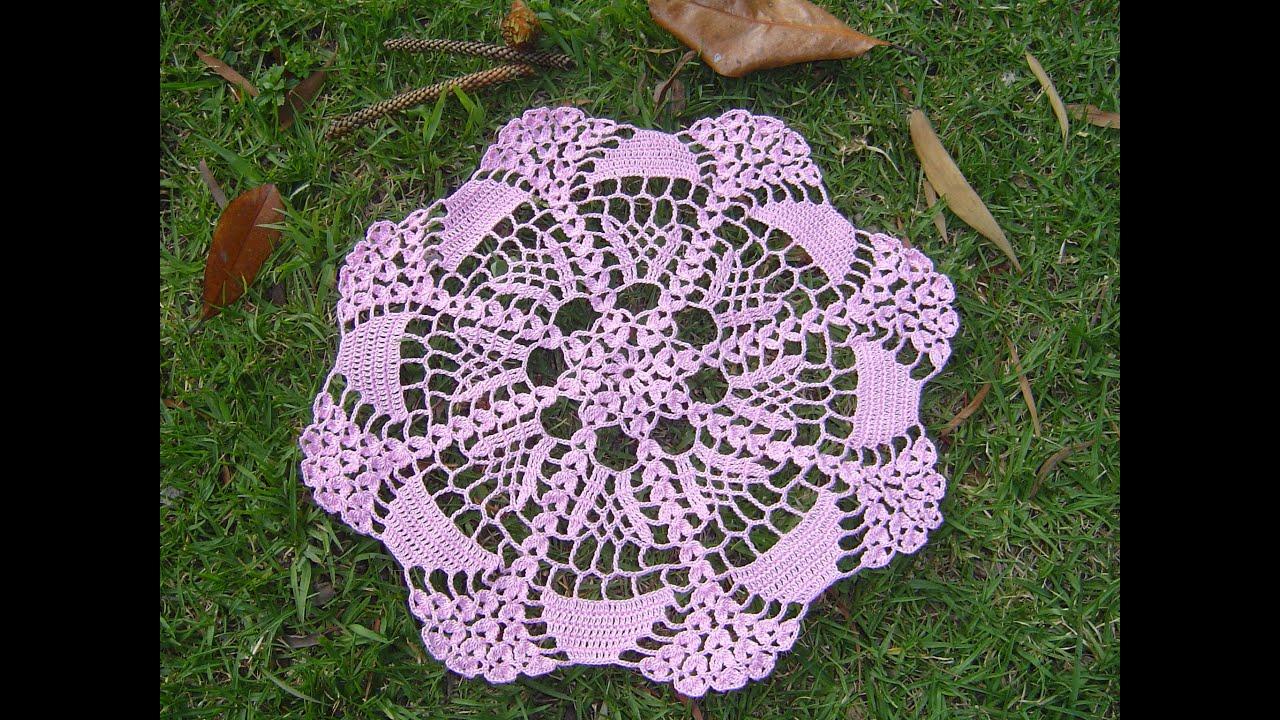 Como hacer tapete o centro de mesa a crochet tutorial - Como hacer flores de ganchillo ...