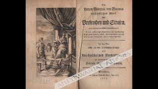 """Słynna książka Cesare Beccarii, markiza de Bonesana, """"O przestępstwach i karach"""" (1764)"""