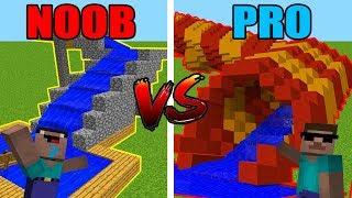 Minecraft NOOB Vs. PRO: WATER SLIDES BATTLE IN MINECRAFT!