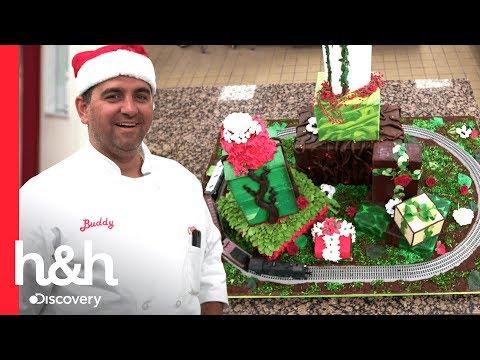 Bolo natalino com um trem  Cake Boss  Discovery H&H Brasil