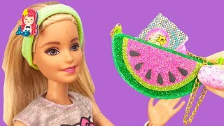 DIY MINIATURE HACKS FOR  BARBIE : Watermelon handbag, Unicorn shoes, Hand wipes