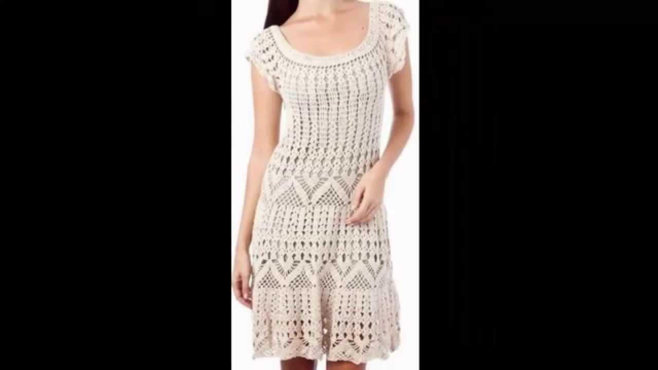 vestido beige varias puntadas caladas a crochet funnycat tv