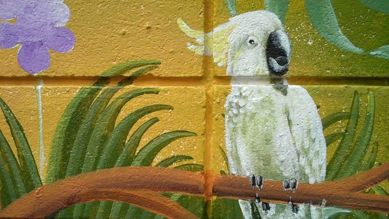Garden wall jungle painting youtube A wall painting