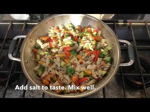 Fusilli Pasta with Butternut squash, Broccoli, Red bell peppers, Zucchini